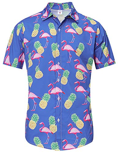 - TUONROAD Mens Casual Flower Tropical Vacation Aloha Short Sleeve Shirts Navy Yellow Pineapples Pink Flamingos Unique Big and Tall Hawaiian Shirt Hot Animal Printed Pattern Camp Surf Button Down Shirt