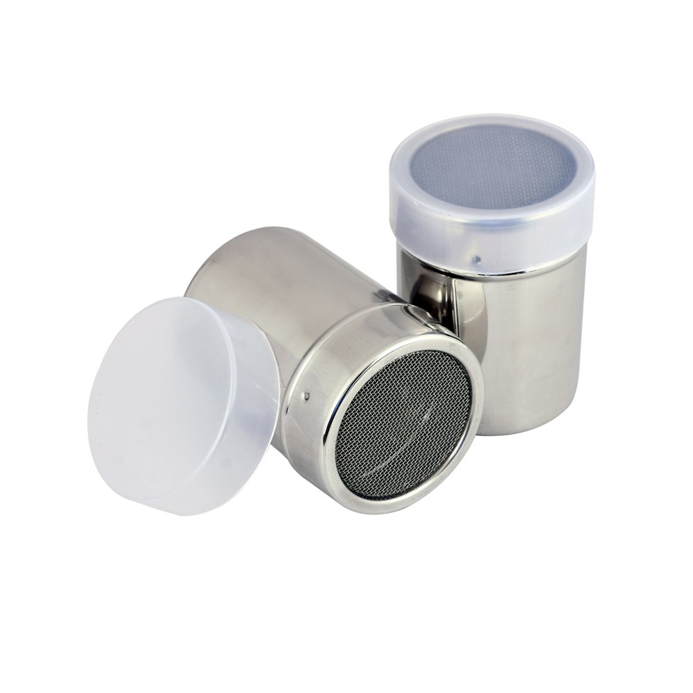 Kosma Stainless Steel Chocolate Shaker   Cheese Shaker   Spice Shaker   Masala Shaker   Chilli Shaker-6x8.5cm with Fine Mesh Lid and Translucent Plastic lid Montstar KG-23067