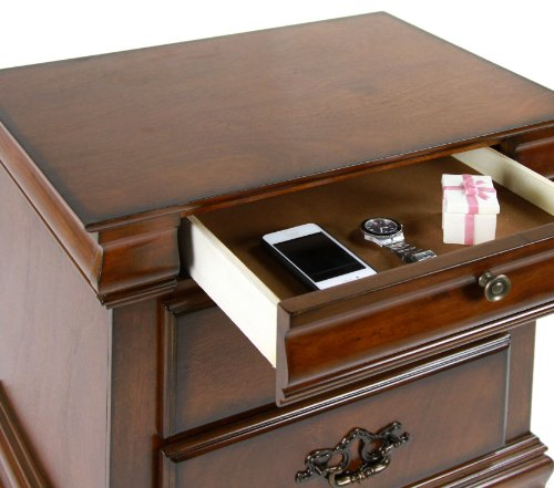 Furniture of America Laurelle 2-Drawer Nightstand, Dark Oak