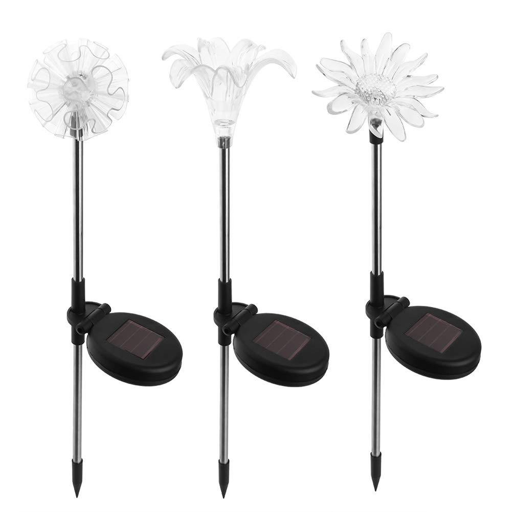 2 Pack Solar Garden Light Outdoor Solar Stake Powered Lights Multi-Color LED Decorative Pathway Light(Lily Snowflake)