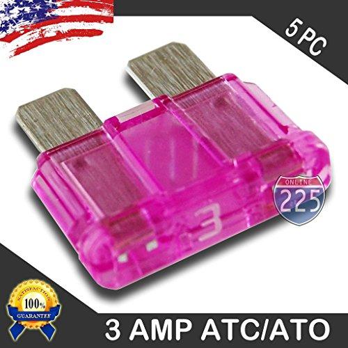 5 Pack 3 AMP ATC/ATO Standard Regular Fuse Blade 3A Car Truck Boat Marine RV