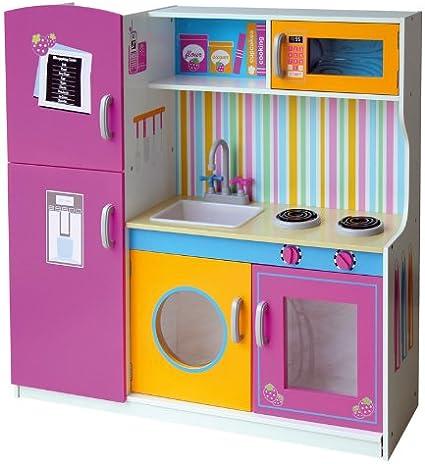 Leomark Grande Y Brillante Multi Cocina Madera Infantil De Juguete Color Rosa Multifuncional Funciones Prácticas Para Niños Dim 110 Altura Cm Amazon Es Juguetes Y Juegos