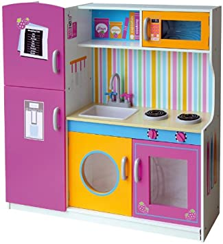 Leomark Multi Kitchen Wooden Play Kitchen Pink Colour Wooden Kitchen For Children With Tap Functional Colourful