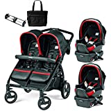Peg Perego - Book for Two Synergy Black Red Silver Double Stroller Twin Travel System with Diaper Bag