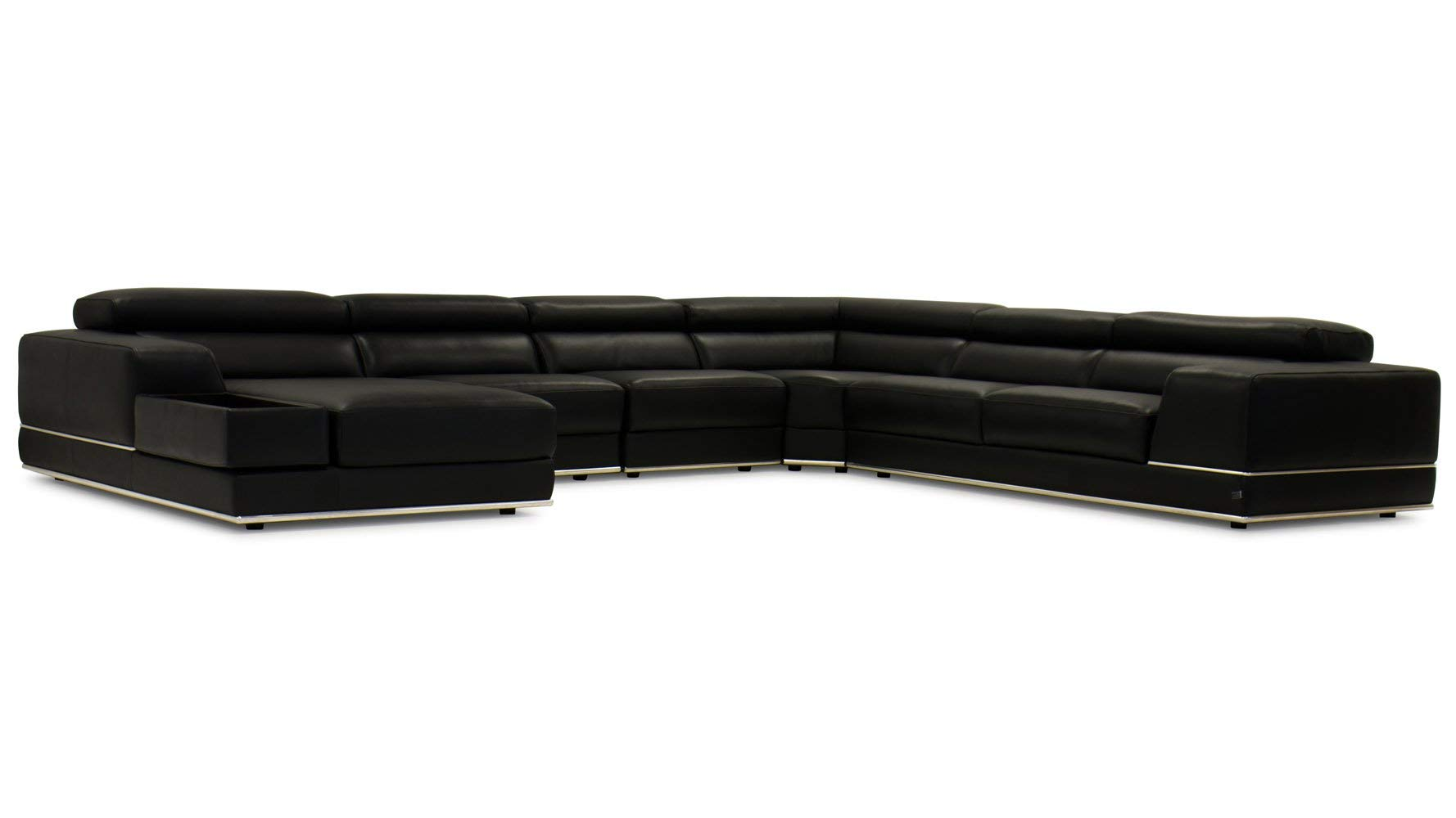 Zuri Furniture Wynn Black Leather Sectional Sofa With Adjustable