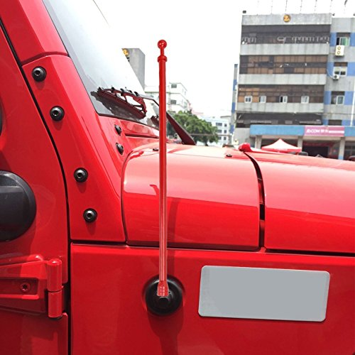 For Jeep Wrangler TJ 1997-2006, 14-inch Antenna Replacement - AM FM Metal Aluminium Heavy Duty Antenna Red (Door Truck 4 Short)