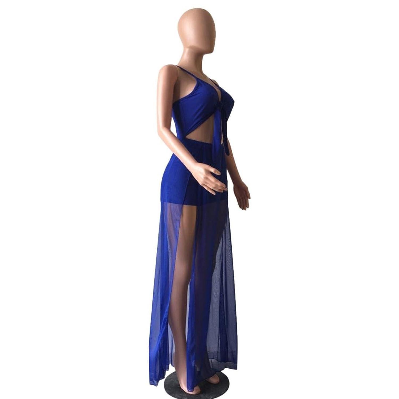 Elecenty Sommerkleid Jumpsuit Damen,Langes Kleid Reizvolle Bandage ...