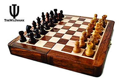 "Holiday Toy List - ThewilSwank Magnetic 7"" Inch Chess Set Game with Fine Wood Classic Handmade Standard Staunton Themed Ultimate Folding Chess Set - comes with storage for Pieces in the Wooden Board"