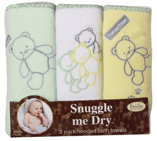 Teddy Bear Hooded Bath Towel Set, 3 Pack, Neutral, Frenchie