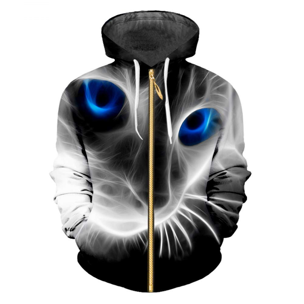 Cat XXXL Ai Ya-weiyi Sweat Homme Printemps Nouveau Zip sweat à capuches LÂche Imprimé 3D'Un Chat Aux Yeux Bleus Taille Grande Et Belle Tees hauts Veste à Capuche pour Hommes