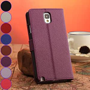 Generic Deep Purple Ultra-Thin Stand Wallet Leather Case For Samsung Galaxy Note 3 III N9000 N9005
