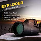 Wingspan Optics Explorer High Powered 12X50 Monocular. Bright and Clear. Single Hand Focus. Waterproof. Fog Proof. For Bird Watching, or Watching Wildlife. Daytime Use. Formerly Polaris Optics