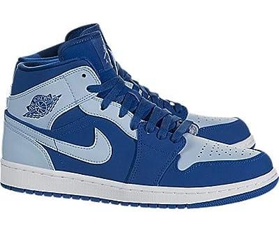 Jordan Mens AIR 1 MID Shoes Team Royal ICE Blue White Size 10.5