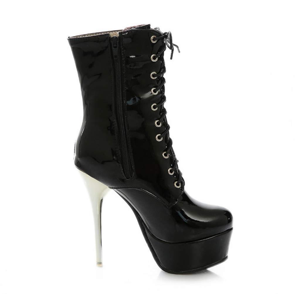 SHANGWU para Mujer Damas Biker Botines/latform Botas Botas Botas de Invierno Sexy Tacones Altos PFashion Girls Thin Heel Vestido de Fiesta Zapatos Regalos Botas tamaño (Color : Negro, tamaño : 39) 84b52f