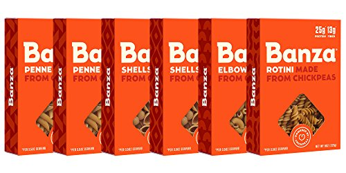 Banza Chickpea Pasta - High Protein Gluten Free Healthy Pasta - Variety Case (Shells, Elbows, Penne, Rotini) (Pack of 6)