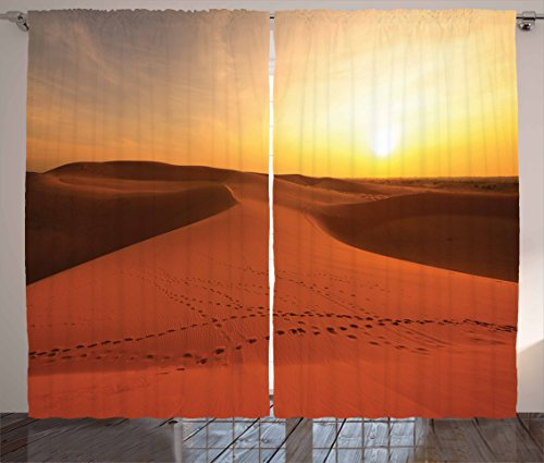 Desert Curtains by Ambesonne, Footprints on Sand Dunes at Sunrise Hot Dubai Landscape Travel Destination, Living Room Bedroom Window Drapes 2 Panel Set, 108 W X 84 L Inches, Dark - Dubai Hot Women