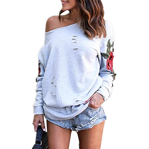 Shoulder Embroidered Sweatshirt Pullover Sweater product image