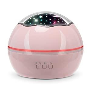 Kids Night Light Projector – Stars/Ocean All-in-one Light Projector for Kids, Projector Lights for Bedroom, Colorful Rotating Projection Night Lights Gift for Boys Girls and Kids (Pink)