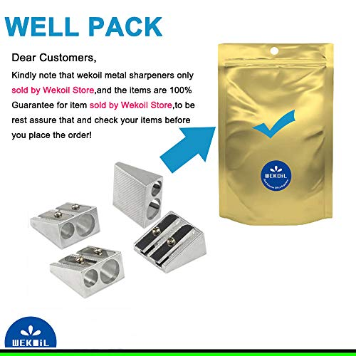 Wekoil Pencil Sharpeners Manual Twin Metal Dual High-Grade Sharpening Blade Double Holes Rectangular Pencil Sharpener For Colored/Graphite Pencils Crayons Jumbo, Pack of 4,Silver by Wekoil (Image #2)