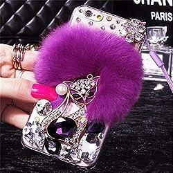 Purple Fur Diamond Crystal Rhinestone Case for Oppo Mobile