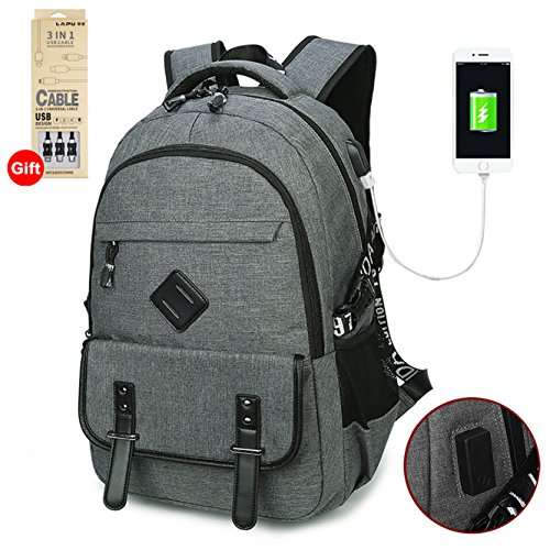 Waterproof Business Laptop Backpack with USB Charging Port, Lightweight Causal School Travel backpack, Fits Under 17 inch Laptop and Notebook (Grey) by WaHe