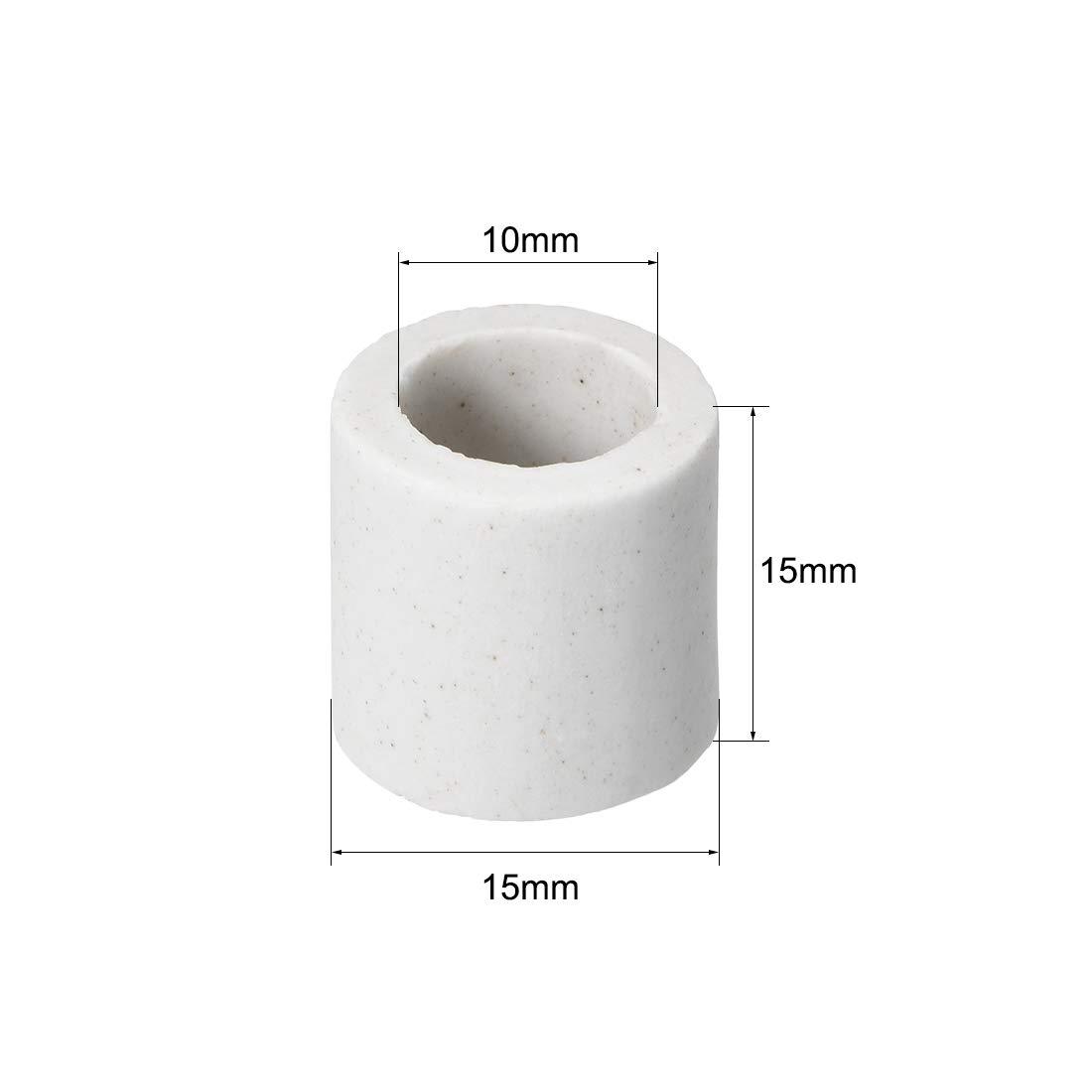 sourcing map Tubo de aislamiento cer/ámico de 10mm de di/ámetro tubo aislador de porcelana de un solo orificio 5 uds