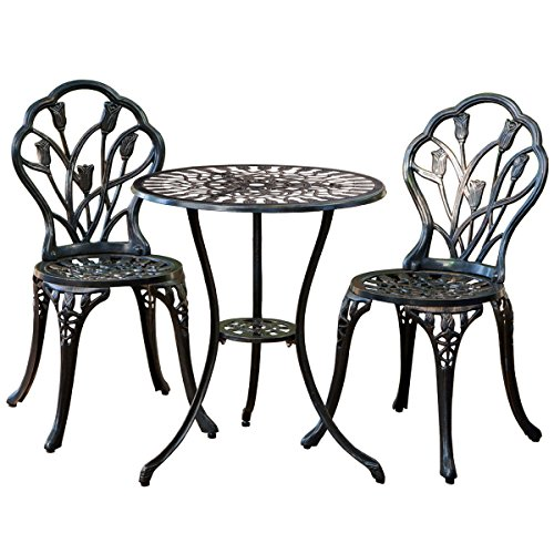 Giantex 3 Piece Bistro Set Cast Aluminum Rose Design Bistro Set Antique (Brown) (Cast Iron Patio Table And Chairs)