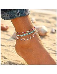 a0e1826af Anklets for Women Girls Color Beads Turquoise Drop Sequin Charm Adjustable  Ankle Bracelets Set Boho Multilayer