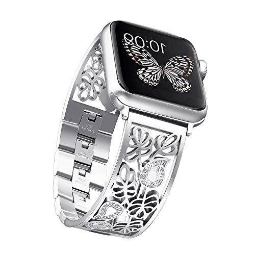 Secbolt Carved Flower Bling Bands Compatible with Apple Watch Band 38mm 40mm iwatch Series 4/3/2/1, Stainless Steel Dressy Jewelry Diamond Bracelet Bangle Wristband Women, Silver