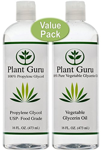 Vegetable Glycerin/Glycerine & Propylene Glycol 16 oz Value Pack Food Grade USP Kosher 100% Pure Highest Quality and Purity (Best Vg E Liquid)