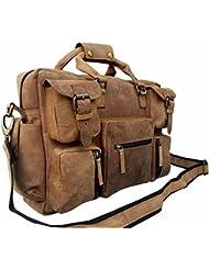 Mens Crazy-horse Leather Briefcase Luggage Handbag Shoulder Bag, Fit 16.5 Laptop BY TOM&CLOVERS BAGS