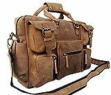 Vintage Buffalo Leather Messenger Satchel Laptop Briefcase Men's Bag Crazy Vintage Leather Messenger Briefcase Bag