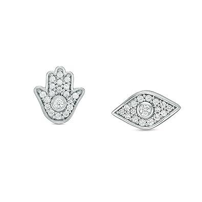 b3f0dd21dafd8 Amazon.com: 1/6 Cttw Diamond Hamsa and Evil Eye Stud Mismatched ...