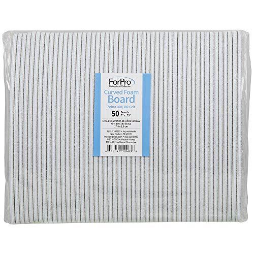 ForPro Zebra Curved Foam Board, 100/180 Grit, Manicure and Pedicure Nail File, 7