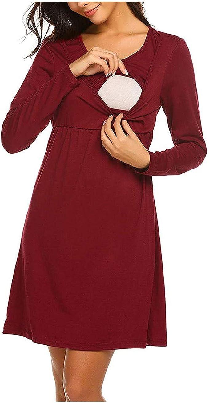 STRIR Camisón Embarazada Maternidad Lactancia Pijama Algodón Vestido Ropa para Dormir Premamá Manga Larga Hospital Mujer Embarazada: Amazon.es: Ropa y accesorios