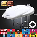 ANTV White 65 Miles Outdoor Waterpoof TV Antenna with 10ft Coaxial Cable 360