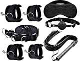 Fetish Bondage Restraints Mouth Gag, Floggers, Eyemask,Handcuffs and Anklestraint Set with Adjustab Cuffs Rele Strap (Black 3)