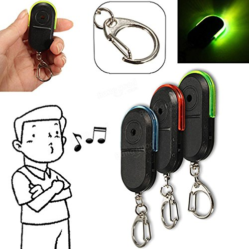 ClothingLoves Voice Control Wireless Anti-Lost Alarm Key Finder Locator Keychain With 30 meters Whistle Sound & Colorful LED Light (Green)