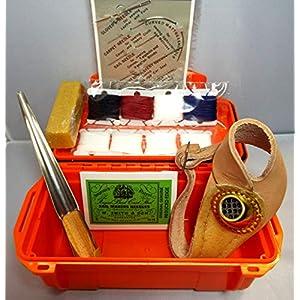 Sailmakers Repair & Rope Splice Kit, boxed. Inc Needles, RH Adj Palm, Fid, Wax, 4 colours of Twine