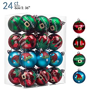 Valery Madelyn 24ct 60mm Delightful Elf Shatterproof Christmas Ball Ornaments Decoration,Themed with Tree Skirt(Not…