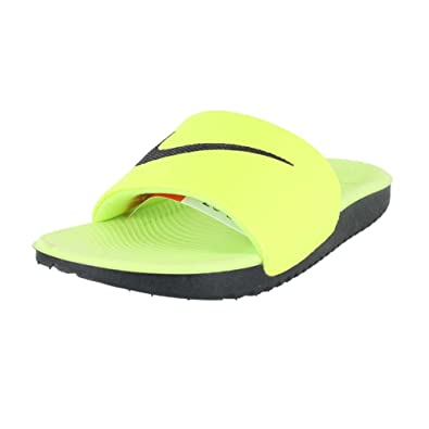 f114a089f Nike Kids KAWA Slide (GS PS) Volt Black Size 1