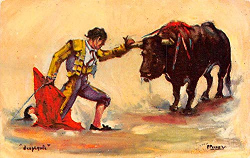 Bull Fighting Tarjeta Postal Postcard Artist Signed Unused