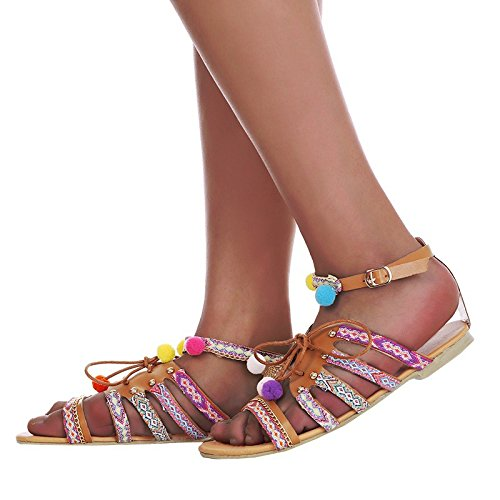 Minetom Femmes FillesSandales Femmes Plates À Pompons Multicolor Lacet Motif Ethnique Chevilles Chaussures Sandales pour Femme