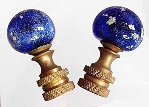 ~SOLD~ Handmade Venetian Glass Lamp Finials Cobalt Blue Planet by Marj Bates Studios