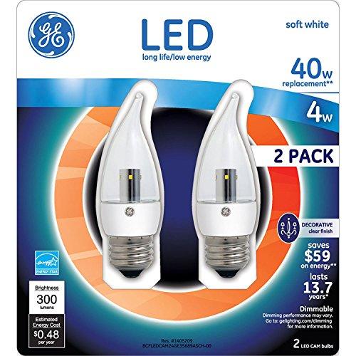 Tip Clear Bent (GE LED 4 Watt Soft White Regular Base Clear Bent Tip (2 pk.))