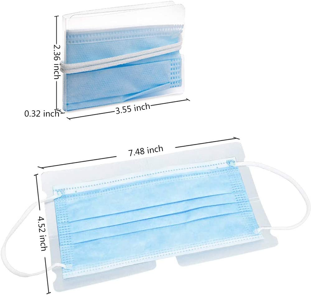36PCS Clear Face Cover Storage Clip Case Plastic Foldable Mask Keeper Holder Organizer Dustproof Reusable Ear Tie Folder for Portable Carry