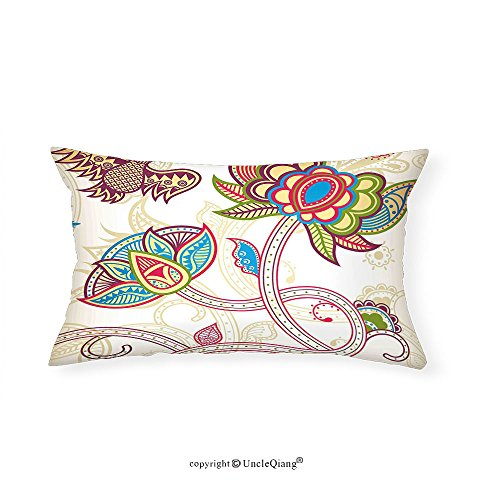 VROSELV Custom pillowcasesFloral Ethnic Embellished Birds and Curved Flower Petals Shabby Chic Style Artsy Image for Bedroom Living Room Dorm Multicolor(12''x24'') by VROSELV