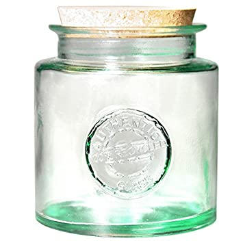 Authentic Recycled Glass Storage Jar With Cork Lid 1.5ltr   Vintage 100%  Recycled Green