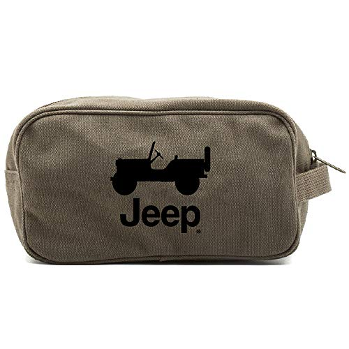 Grab A Smile JEEP CJ Canvas Shower Kit Travel Toiletry Bag Case, Olive & Black