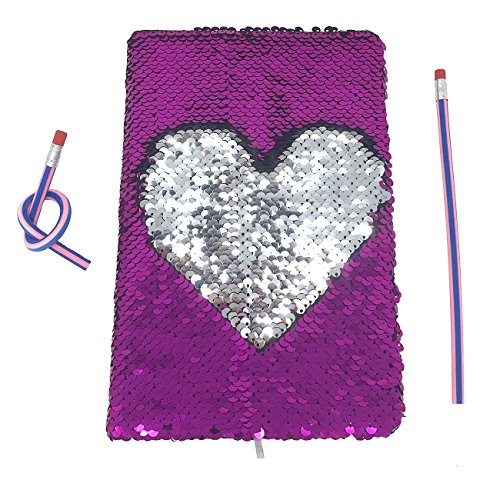 Reversible Magic Sequin Journal Notebook Diary - Color Changing Flip Sequins with Heart- Lined A5 Paper - Perfect Gift for Creative Girls and Teens With 2 Pcs Magic Soft Pencils(Rose Red/Silver) ()